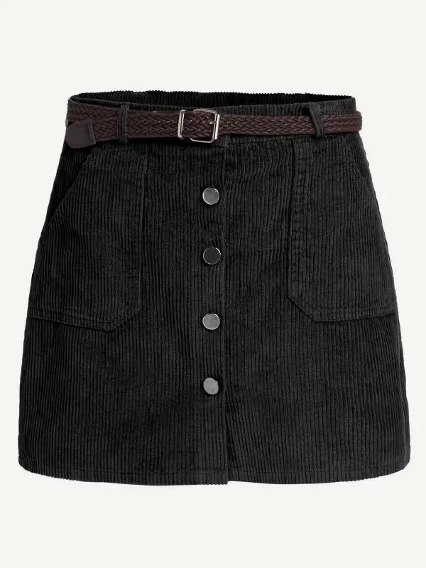 Cord Single Breasted Skirt With Belt