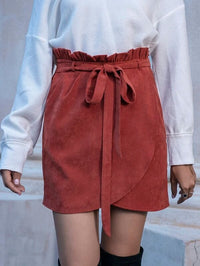 Women Corduroy Belted Paperbag Waist Wrap Skirt