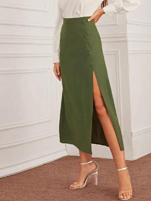 Covered Button Split Thigh Skirt
