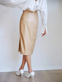 Women Covered Button Detail Faux Leather Skirt