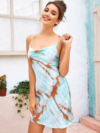 Women Crisscross Backless Draped Detail Tie Dye Slip Dress
