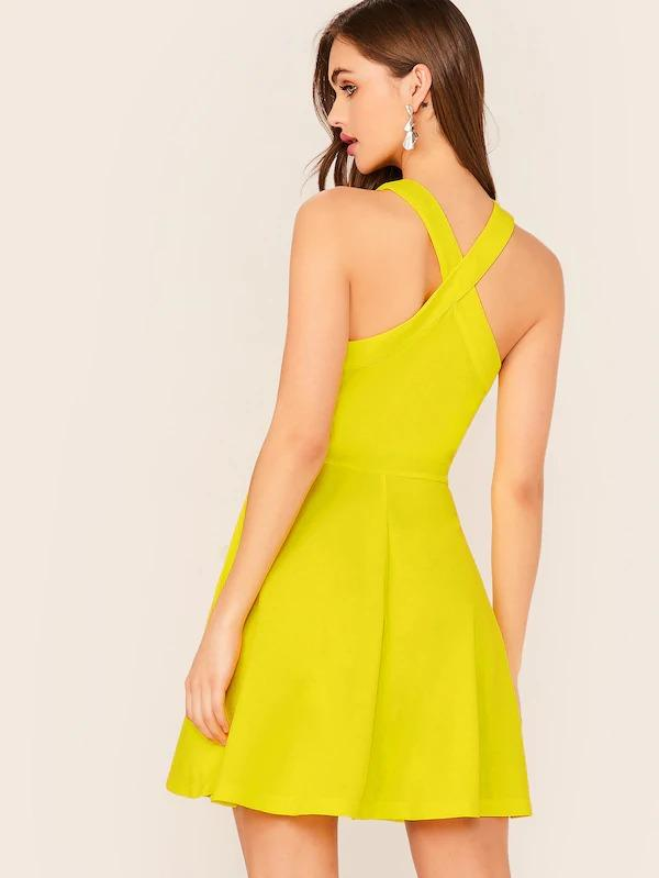 Crisscross Halter Neck Solid Fit & Flare Dress
