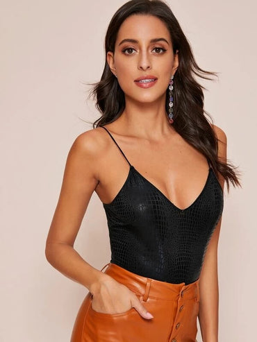 Crocodile Embossed High Leg Cami Bodysuit
