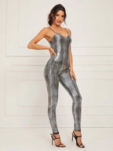 Crocodile Pattern Fitted Slip Jumpsuit