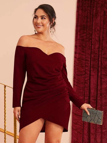 Women Plus Size Cross Wrap Ruched Detail Bardot Dress