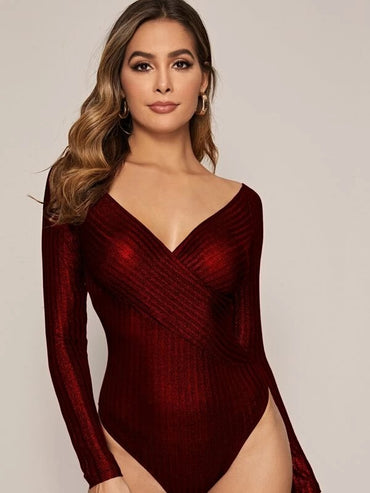 Cross Wrap Front Glitter Bodysuit