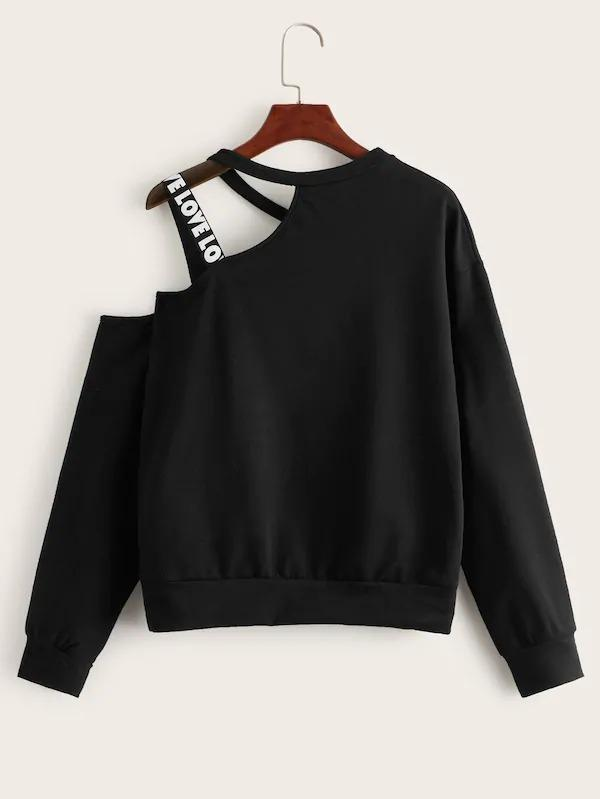 Crown & Letter Print Tape Asymmetrical Neck Sweatshirt