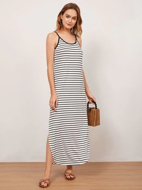 Women Curved Hem Striped Ringer Cami Dress