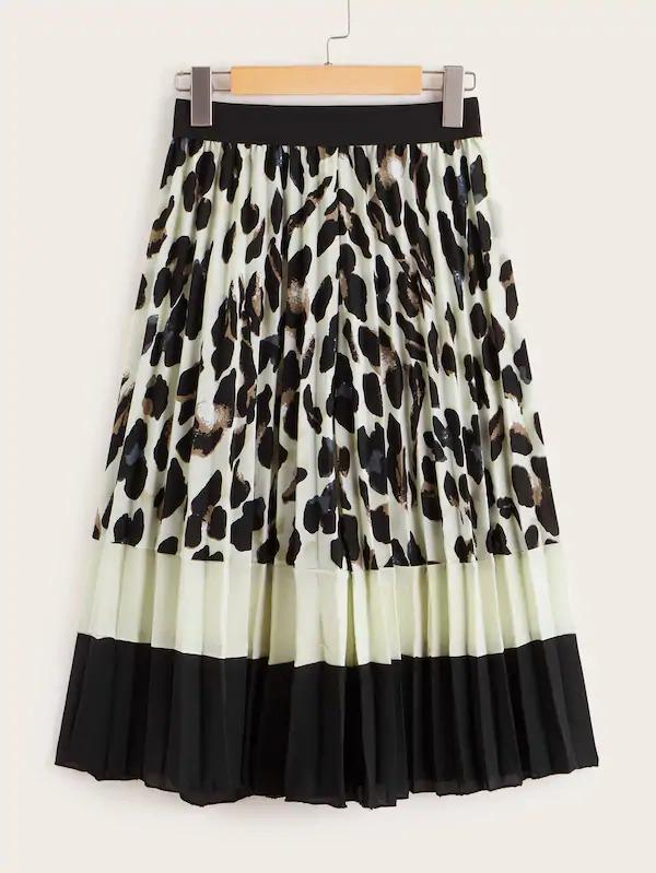 Cut And Sew Leopard Print Pleated Skirt