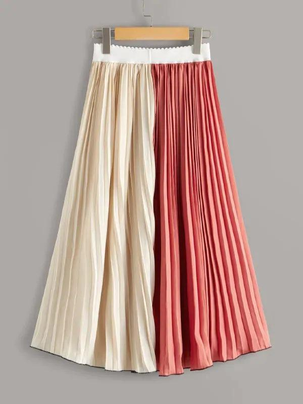 Cut And Sew Pleated Midi Skirt