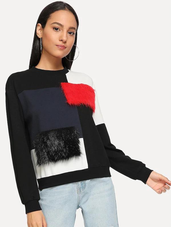 Cut-And-Sew Faux Fur Detail Pullover