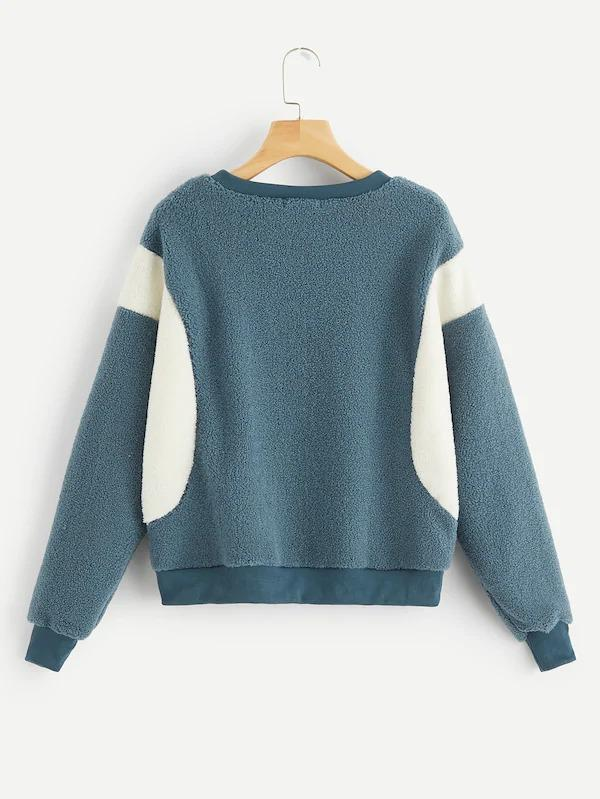 Cut-And-Sew Fuzzy Sweatshirt