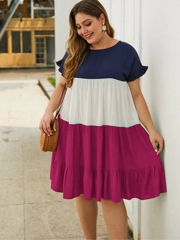 Women Plus Size Cut And Sew Smock Dress