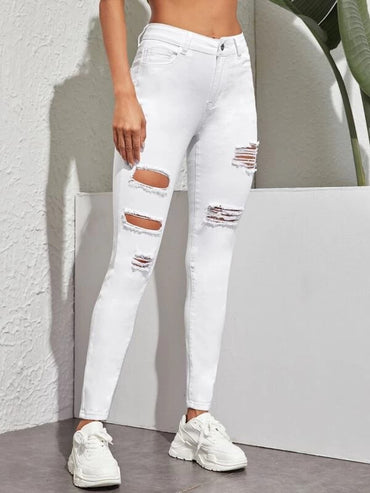 Women Cut Out Ripped Button Fly Jeggings