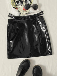 Women Cut Out Waist Patent Leather Skirt