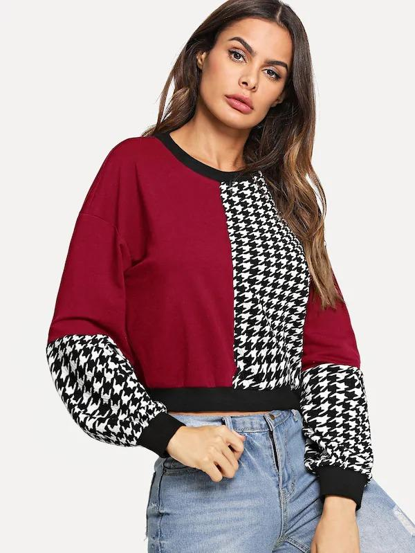 Cut And Sew Houndstooth Sweatshirt