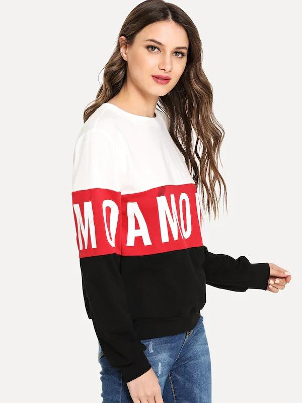 Cut And Sew Letter Sweatshirt