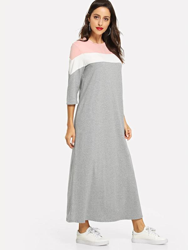 Cut And Sew Marled Sweat Maxi Dress