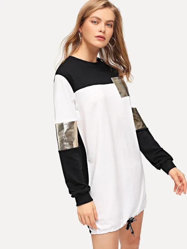 Cut And Sew Panel Drawstring Hem Sweatshirt Dress