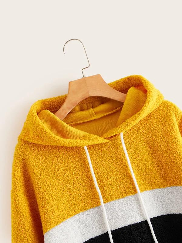Cut And Sew Panel Drawstring Teddy Hoodie