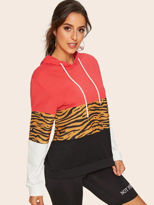 Cut And Sew Tiger Print Drawstring Hoodie