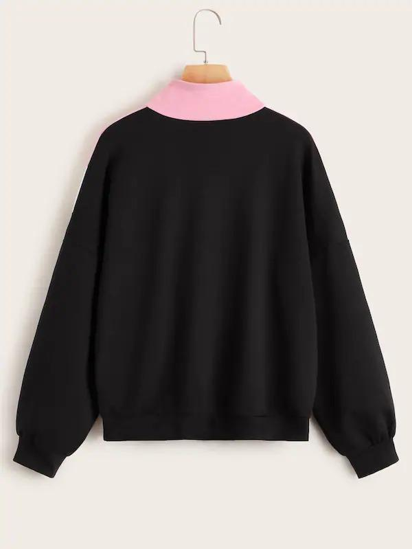 Cut And Sew Zipper Front Stand Collar Sweatshirt