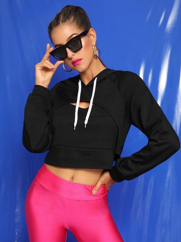 Cut Out Drawstring Combo Crop Hoodie