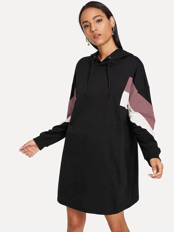 Cut & Sew Hoodie Sweatshirt Dress