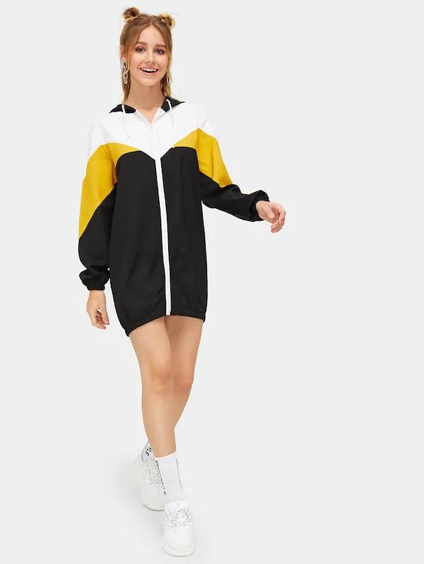 Cut & Sew Zip Up Hoodie Sweatshirt Dress