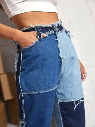Women Cut and Sew Frayed Trim Jeans