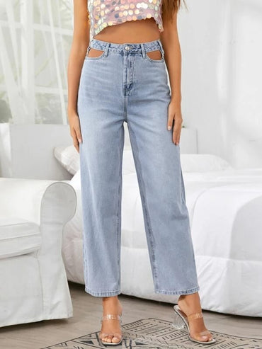 Women Cutout Waist Light Wash Jeans