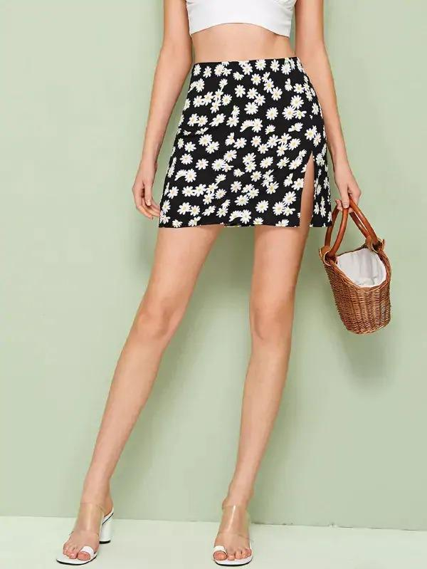 Daisy Print Split Side Skirt