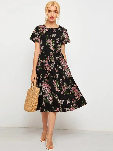 Women Daisy Floral A-Line Long Dress