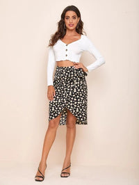 Women Daisy Floral Print Wrap Knotted Skirt