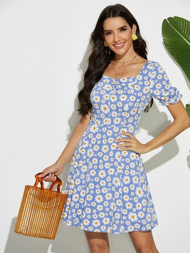 Women Daisy Print Button Front Dress
