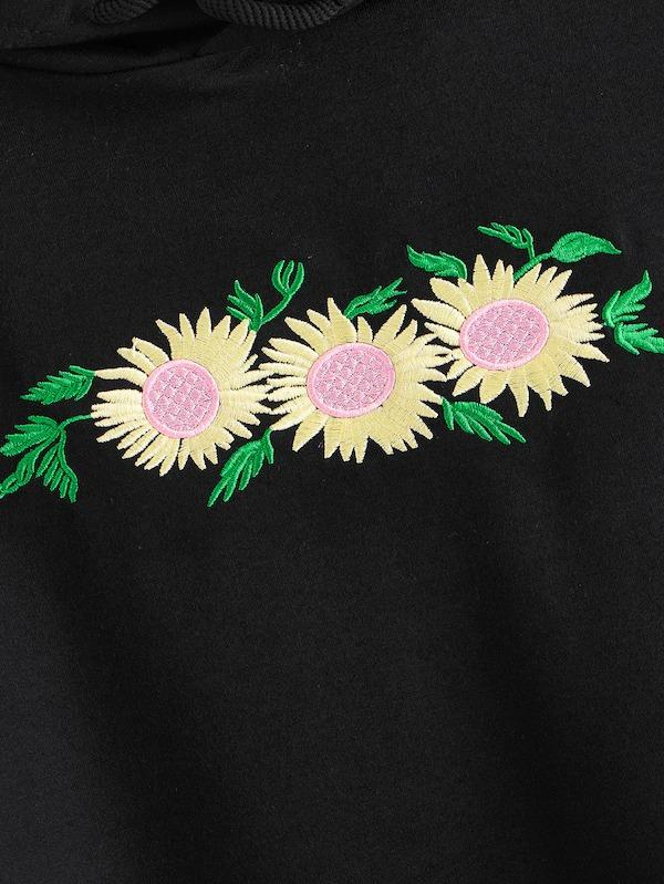 Daisy Embroidered Drop Shoulder Hoodie