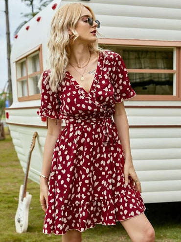 Women Dalmatian Print Frill Trim Ruffle Hem Belted Dress