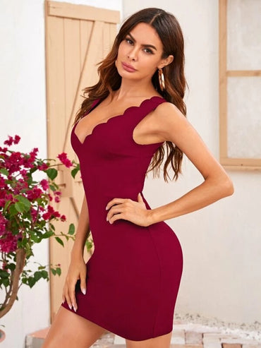 Women Deep V Neck Scallop Trim Bodycon Dress
