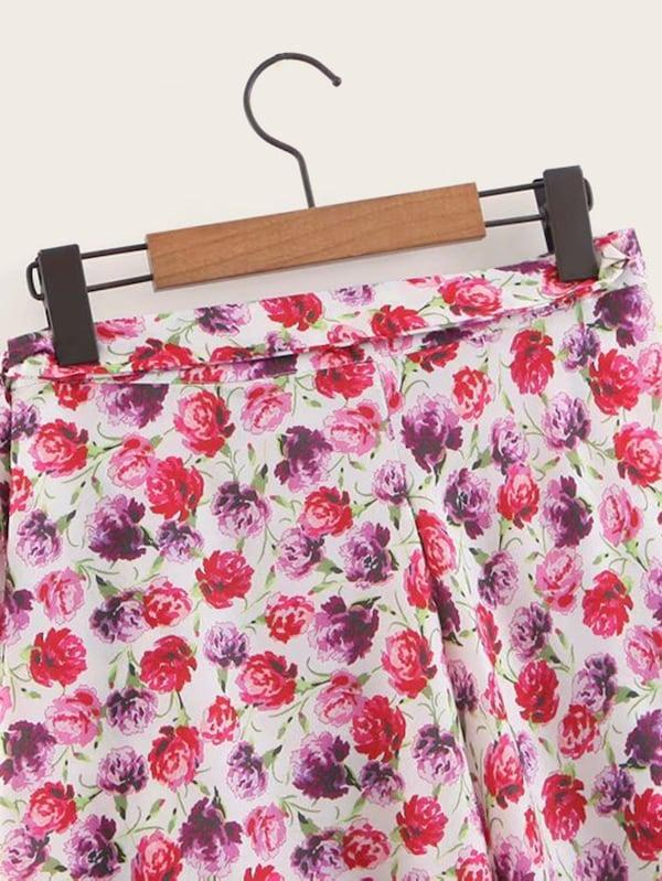 Ditsy Floral Tie Side Skirt