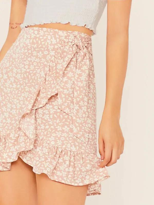Ditsy Floral Tie Waist Ruffle Wrap Skirt