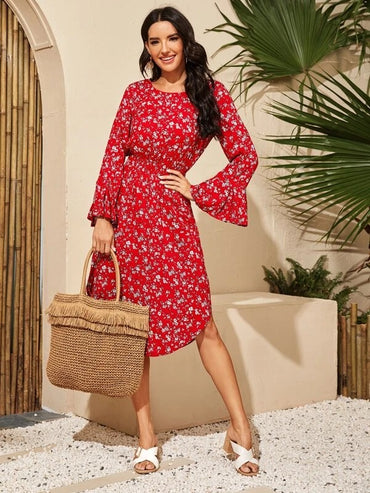 Women Ditsy Floral Print Flounce Sleeve Curved Hem Dress
