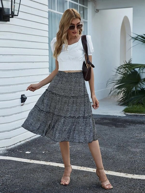 Women Ditsy Floral Print Layered Skirt