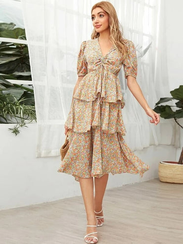 Women Ditsy Floral Ruched Tie Front Layered Dress