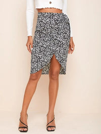 Women Ditsy Floral Tie Front Wrap Skirt
