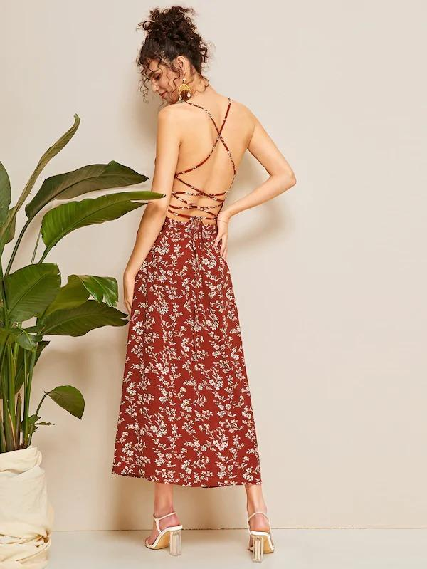 Ditsy Floral Lace-Up Backless Slit Cami Dress