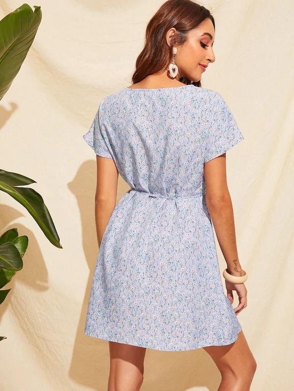 Ditsy Floral Print Button Front Belted Dress