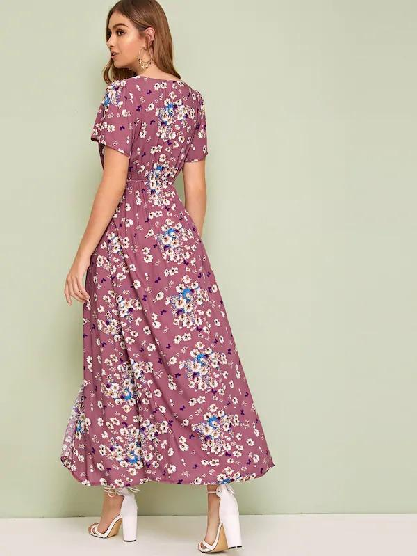 Ditsy Floral Print Elastic Waist Shirt Dress