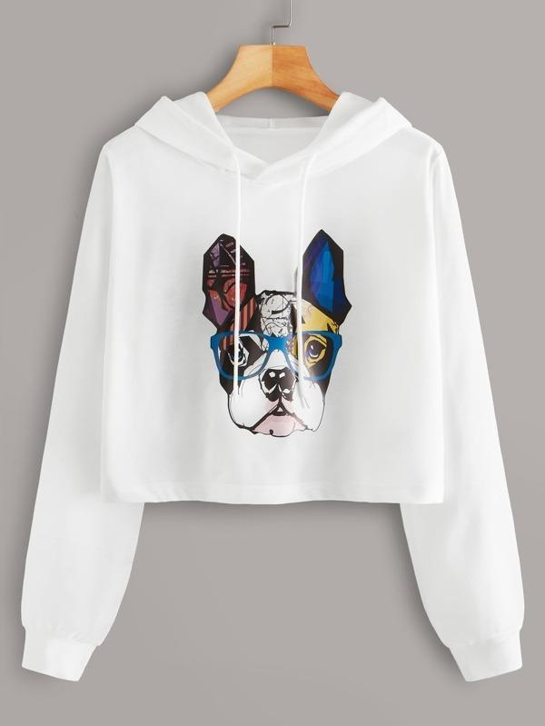 Dog Print Drawstring Hooded Sweatshirt
