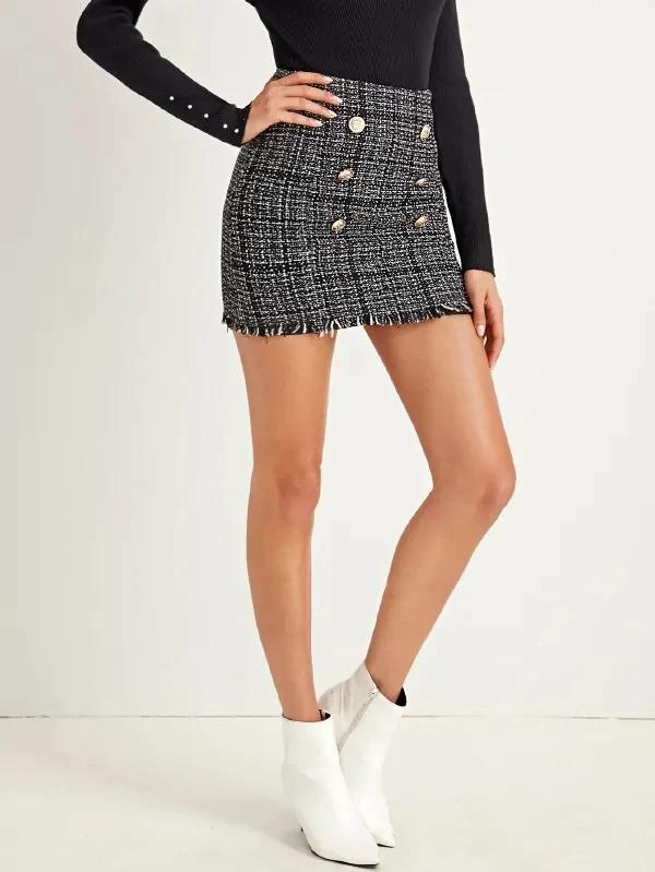 Double Button Bodycon Tweed Skirt