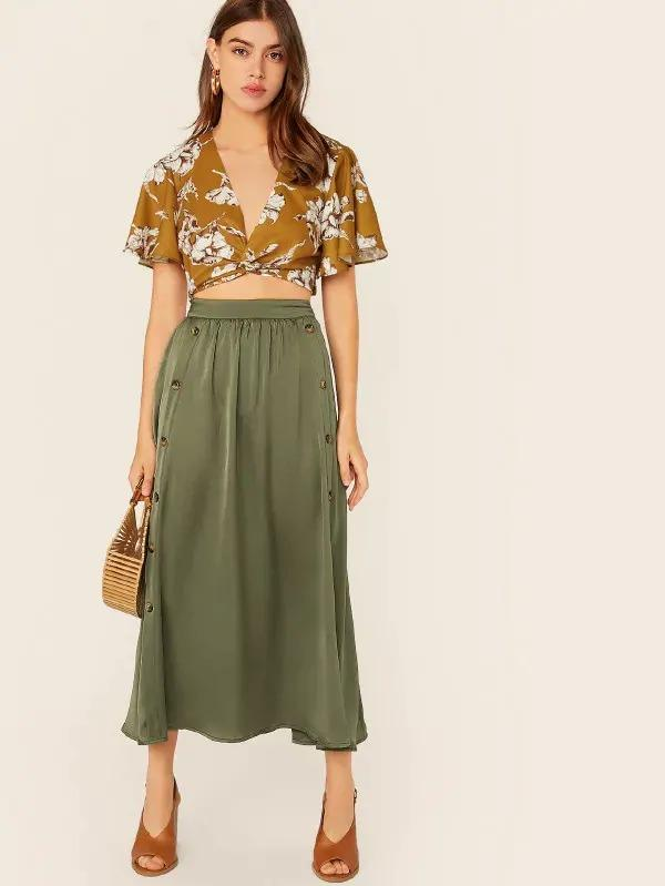 Double Button Flare Skirt